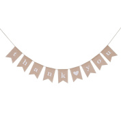 YNuth THANK YOU Linen Bunting Banners Garland Swallowtail Shape for Wedding Party Decoration