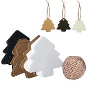 Mcree 150 Pcs Christmas Tree Tags(3 Colours) & 1 Pc 600 CM Hemp Rope, Vintage Christmas Kraft Paper Gift Decoration