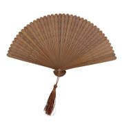 A-goo Vintage Womens Folding Bamboo Hand Fan with Tassel Wedding Party Gift 18cm Brown