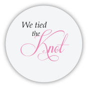 eKunSTreet ® 48x Wedding Favours 'We tied the Knot' Sticker,40mm GLOSSY Favours Labels,Candy Box Labels,Wedding Reception Decoration, Party Celebration Labels Rustic- UNI 074