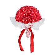 good01 1Bouquet Ribbon Rhinestone Artificial Foam Roses Wedding Bridal Flowers