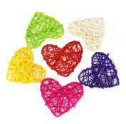 Milopon Wicker Balls Heart Shape Rattan Ball Ornaments for Wedding Birthday Christmas Party Decoration 6cm 10pcs