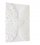 10 Pcs Wedding Invitation Cards Hollow Butterfly Flower Pattern White