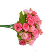 Visork Artifical Rose Flower Floral Bridal Bouquet Silk Flower Decoration Bouquet For Weeding Party Home Decor Pink