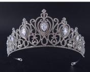 Rhinestone Crown Zircon Tiara Queen Wedding Party Prom Bridal Hair Accessories Silver