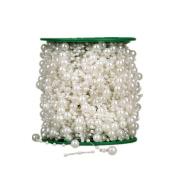 Syndecho 60m Pearl Bead Roll Garland, Wedding Craft DIY Decor Accessory Pearls for Centrepiece Table Decoration, Wedding Bridal Bouquet, Bride Headband
