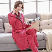 GFEI A couple of men and women winter pyjamas / coral fleece bathrobe / velvet robe robe / Home Furnishing thickened warm suit,xxl,h