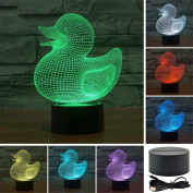 REDOI Duck Colourful Gradient 3D Light Touch Switch Creative Gift Lamp
