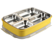 HJMTRY Children's Lunch Box 304 Stainless Steel Insulation Sub-Grid Students Lunch Box 1.9l Multi-Grid Plate