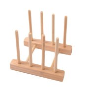 Dish Holder Drainer Bookshelf,Woopower Simple Dish Rack Pots Wooden Plate Stand Wood Kitchen Cups Display Drainer Holder