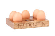 Hollyberry Home Holder for 6 Eggs with 1/2 Dozen Engraved, Wood, Multi-Colour, 6.5 x 20 x 15 cm