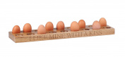 Hollyberry Home Holder for 18 Eggs with I Like Mine with A Kiss Engraved, Wood, Multicolour, 6.5 x 56 x 15 cm
