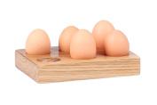 Hollyberry Home Holder for 6 Eggs, Wood, Multicolour, 6.5 x 20 x 15 cm