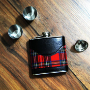 Just Contempo Tartan Hip Flask Gift Set with Two Shot Cups and Funnel
