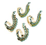 SARO LIFESTYLE Jewelled Peacock Tail Napkin Ring, Sea Green
