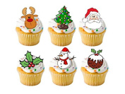 24 x Christmas Xmas Festive Mixed STAND UP STANDUPS Fairy Muffin Cup Cake Toppers Decoration Edible Rice Wafer Paper