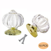 10 X Probrico Acrylic Kitchen Cabinet Knob Pumpkin Shape Furniture Drawer Handle Crystal Cupboard Pull With Screws PSP06129TR