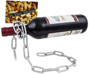 BRUBAKER Wine Bottle Holder Magic Chain Metal Sculpture with Gift Card