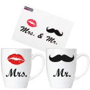 """BRUBAKER """"Mr. & Mrs."""" Ceramic Mugs with Greeting Card and Gift Box"""