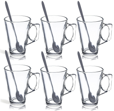 BDUK Set of 6 Tall Latte Glasses Cafe Mugs 240ml with 6 Free Long Spoons - Packed In A Gift Box - Also Ideal For Tea, Coffee, Latte, Cappuccino, Espresso