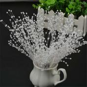 10 pcs White Stems Pearl roses Beads Spray Wedding Bouquet Bride Cake Flower Bouquet Wedding Home Table Decor