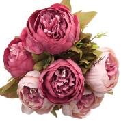 Vintage Bunches Arrangement Artificial Peony Silk Flowers Bouquet Home Wedding Decoration