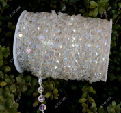 ICTRONIX 30M/Roll Iridescent Crystal Bead String Garland Diamond Acrylic Beads Strand Hanging Curtain Chandelier For DIY Wedding Party Doorways Decoration