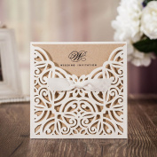 WISHMADE Wedding Invitations Cards 50X Laser Cut Rustic White Square Invitations with Bow Lace Sleeve for Engagement Baby Bridal Shower Birthday Quinceanera CW6179W