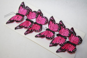 Real Feather Clip on Butterflies - Fuchsia x 6