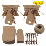 PsmGoods® Wedding Favour Antique Key Bottle Openers Kraft Paper Gift Tags Rectangle Tags with Vintage Copper Key Wine Openers Pillow Candy Boxes for Wedding Party Decoration Baby Shower Gifts Guest Party Banquet Bar Supplies 20 Pieces