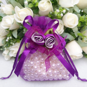 20pcs Organza Wedding Favour Gift Bags, Wedding Party Pouches whih Rose Belt Mini Jewellery Bags Drawstring Party Festival Bags Candy Bags Dark Purple