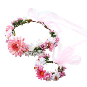 A-SZCXTOP Colourful Artificial Bridal Wreath Hairband Crown,Flower Wreath with Floral Wrist Band for Wedding Festivals and Beach Vacation Dress up