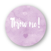 eKunSTreet ® 48PCS 40mm Round 'Throw me!' Stickers,Purple Wedding Favour Stickers,Wedding Confetti Bag Favour Sticker Labels Seals, also for Baby Shower,Birthday Party,Engagement Confetti Bags - UNI 024