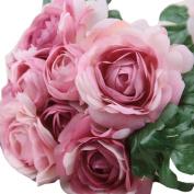 HLHN Rose Fake Silk Flower Leaf Artificial Wedding Decor Bridal Bouquet for Office Decoration Home Desks Tables Garden Outdoor Party