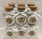 12 PCS Jar bonbonniere sugared almonds bags painting WEDDING with rosette and application
