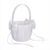 Jooks Wedding Flower Girl Basket Satin Bowknot Flower Basket Double Heart Faux Pearl Rhinestone Decor 12.5cm White