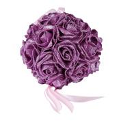 JUNGEN Bouquet Artificial Flower Ball with Shining Powder for Wedding Decoration Purple