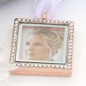 Crystal Picture Frame Bouquet Charm - Memory Locket - Brides Keepsake - Rose Gold