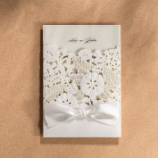 PONATIA 25PCS White Laser Cut & Embossed Invitations Kit With Ribbon Matched Wedding Bridal Shower Invitation Baby Shower Engagement Birthday Graduation Invitation Cards