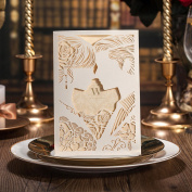 PONATIA 20PCS Lacer Cut Wedding Invitations Cards With Bride and Groom Kiss Hollow-out Engagement Marriage Invitations
