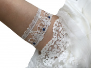 Lemandy Vintage Lace Wedding Garter Bridal Lace Garter Rhinestone Church Garter TD020