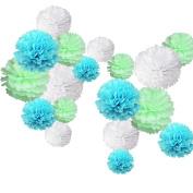 18 pcs Paper Tissue Pom Poms Wedding Party Birthday Decoration