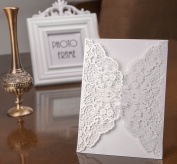 20pcs Wedding Bridal Shower Invitation Cards DIKETE® DIY Floral Lace Blank Party Invitation Template Cover for Engagement kids Birthday Baptism Christmas Christening Anniversary