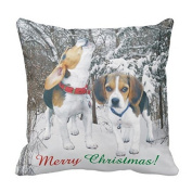 Merry Christmas Beagle Pups Snowy Woods Pillow Case