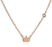 """Shy By Sydney Evan Sterling Silver Rose Gold Plated """"Crown"""" Necklace with Diamond Bezel of 41.275cm"""