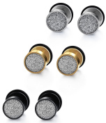 Jstyle 3 Pairs Stainless Steel Stud Earring Men Backs Ear Cuffs for Men Earring Plugs Piercing Sets 18G White Black Yellow 8mm