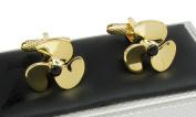 Gold Coloured Ship Propeller Cufflinks In Onyx Art Box
