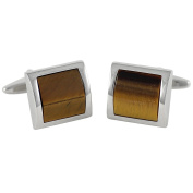 Cufflinks / Cuff buttons LINDENMANN, silvery, tigers-eye brown, with gift box, 10284