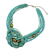 BOCAR Aquamarine Seed Beads Antique Gold Multilayer Statement Collar Necklace