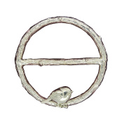 """Fine Pewter Scarf Ring, """"Twig with Robin"""", Handcast By William Sturt"""